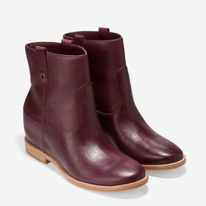 Cole Haan Zillie Boot Red Burgundy Leather Boots